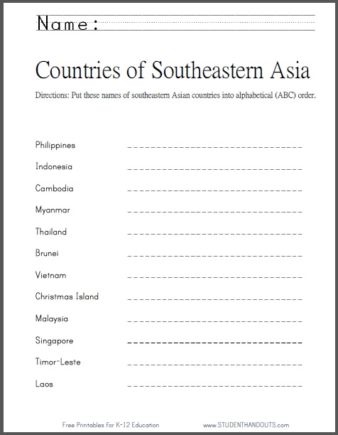 Southeastern Asian Countries in ABC Order | Worksheet is free to ...