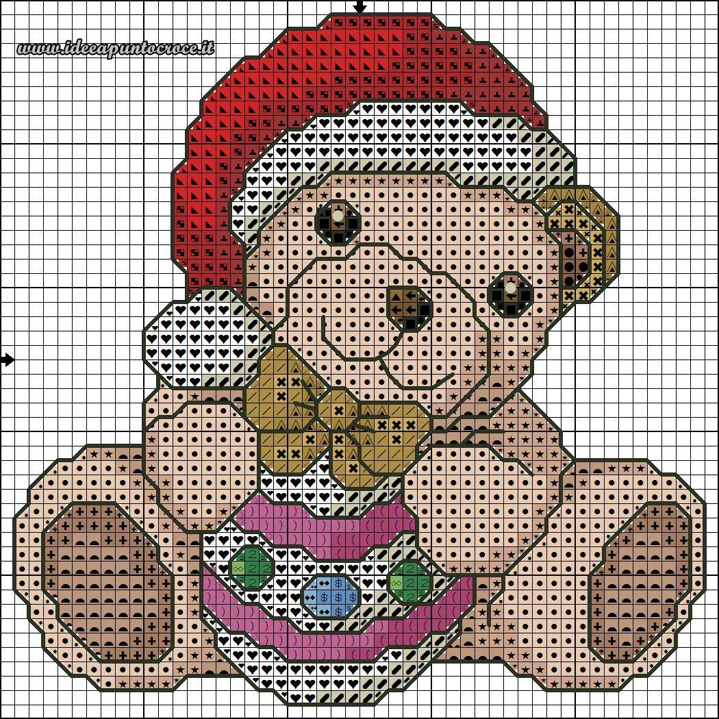 Schema punto croce orsetto thun natalizio x stitch for Schema punto croce orsetto
