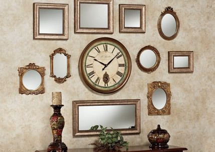 Decorating A Wall With Accent Mirrors Wall Collage Framed Mirror Wall Mirror Wall Collage