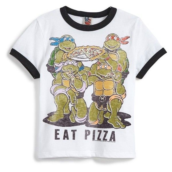 Junk Food 'Teenage Mutant Ninja Turtles Eat Pizza' Graphic T-Shirt... ❤ liked on Polyvore featuring tops, shirts, baby boy and kids