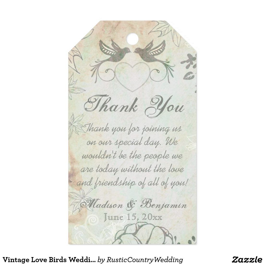 Vintage Love Birds Wedding Thank You Favor Tags Pack Of Gift Tags ...