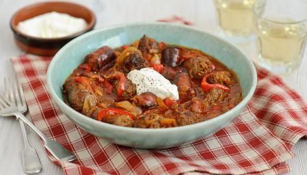 Sausage and chorizo goulash