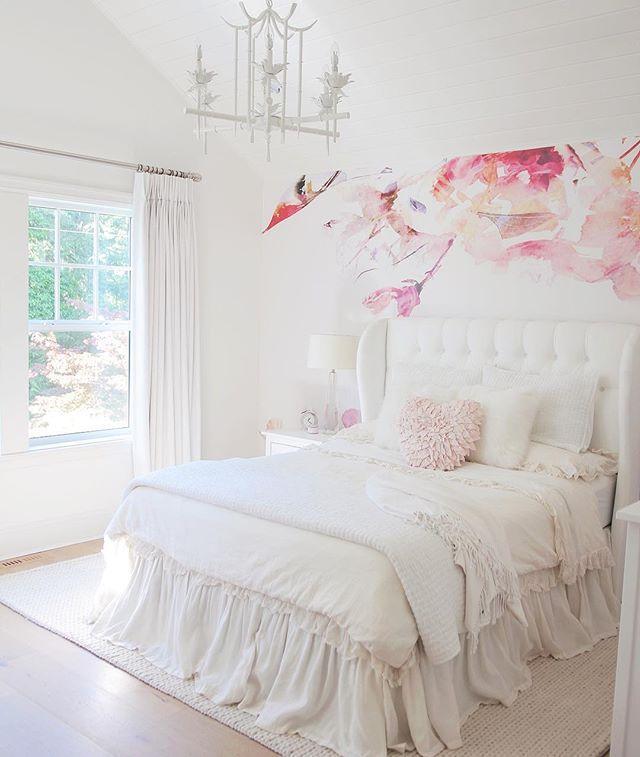 Girls Twin Bedroom With Bird Wallpaper: @jshomedesign Girls Bedroom, Wall Mural, Wallpaper