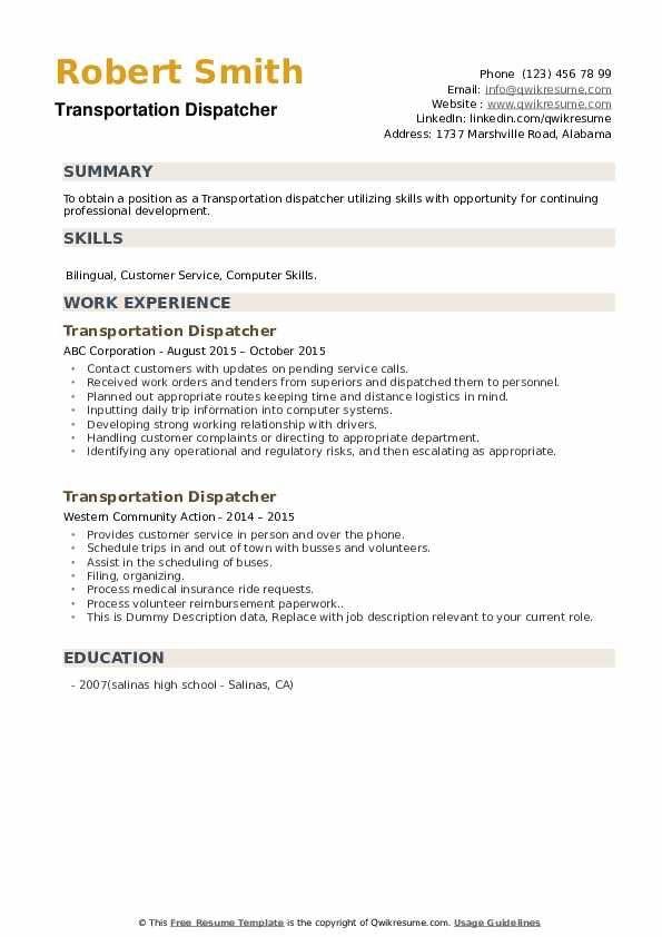 transportation dispatcher resume samples in 2020  medical