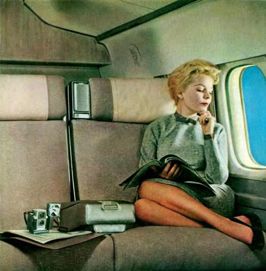 """1960s. """"Adventure in Contentment"""" - Vintage Air Travel Poster"""