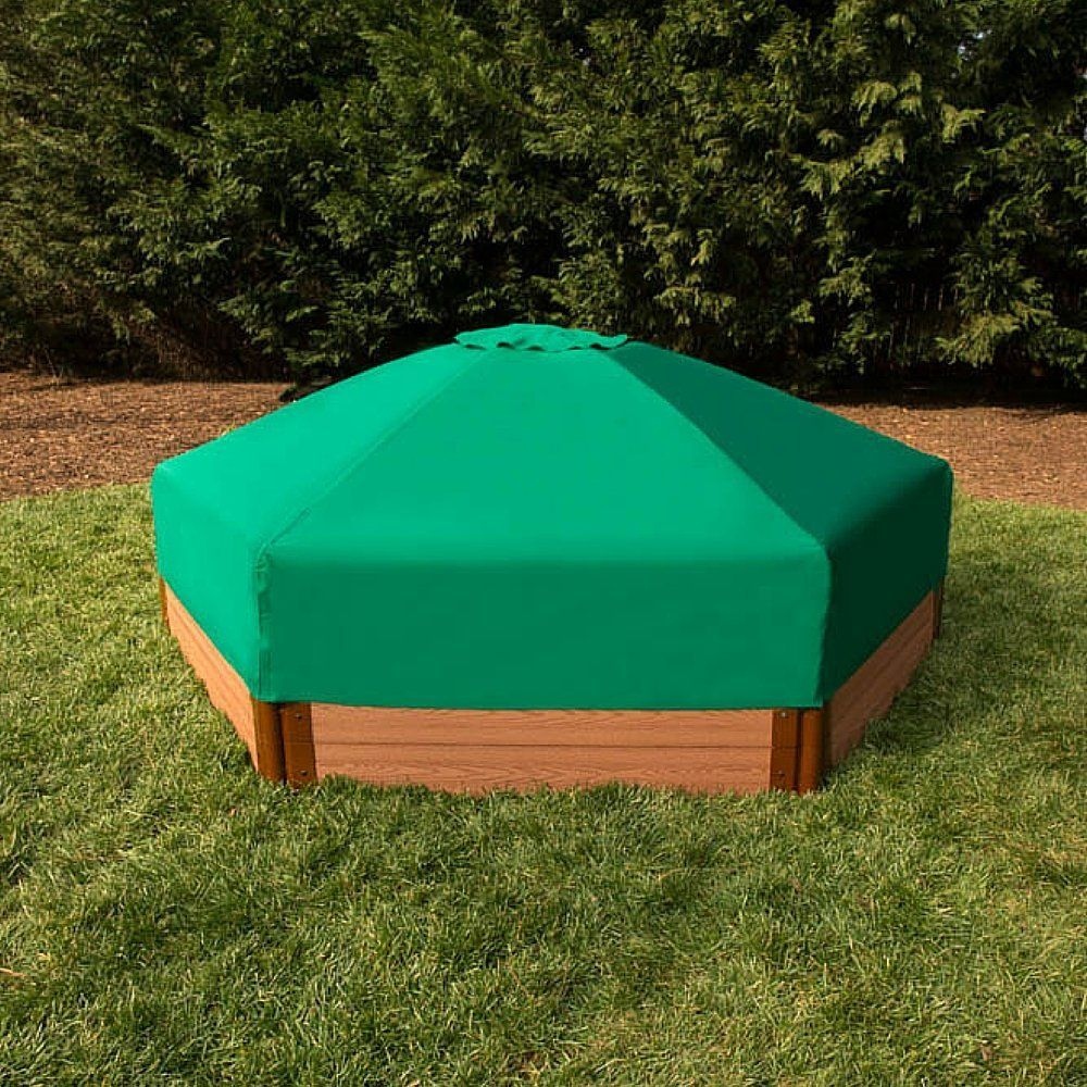 Composite 84ft hexagon sandbox kit with collapsible cover