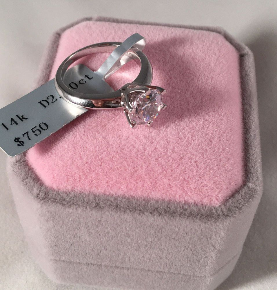 2 ct round cut diamond solitaire engagement ring 14k white gold ...