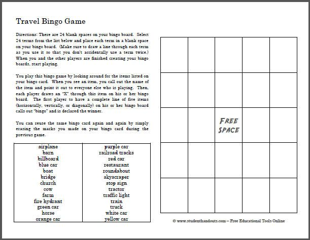 travel bingo game for kids to play in the car are you planning a road