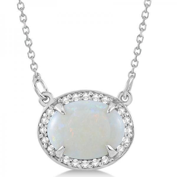 Allurez halo diamond oval opal pendant necklace 14k white gold allurez halo diamond oval opal pendant necklace 14k white gold 890 aloadofball Images