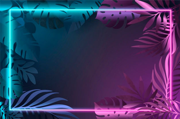 Download Gradient Leaves With Neon Frame for free в 2020 г