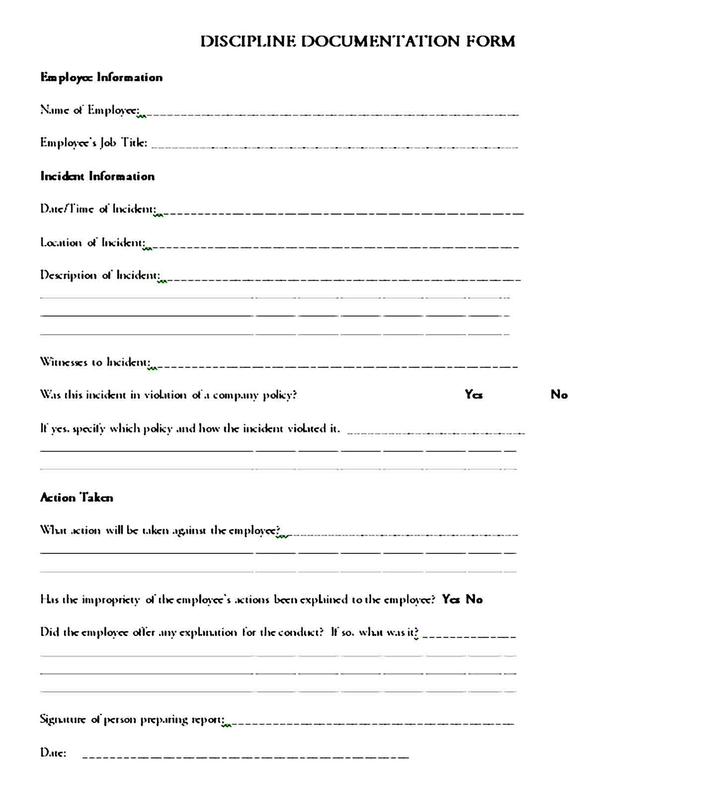 Printable Employee Write Up Form Employee Business Template Form Write up at work template