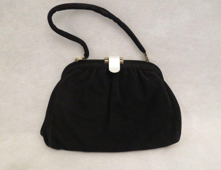Faigen Black Suede Calf Skin Handbag by LouisaAmeliaJane on Etsy  #faigen #vintagebag #vintagehandbag #blacksuede