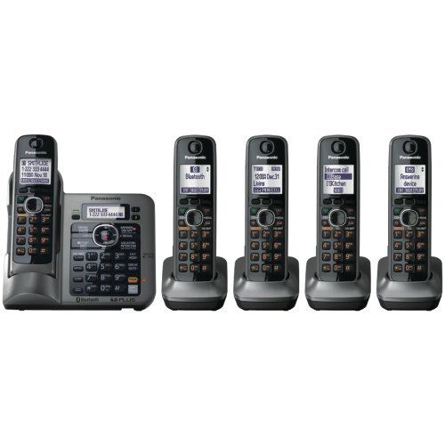 Panasonic Kx Tg7645m Dect 6 0 Link To Cell Via Bluetooth Cordless Phone With Answering System Metallic Gray 5 Hands Cordless Phone Cordless Telephone Handset