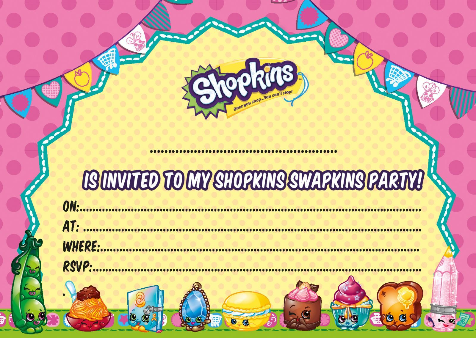photo relating to Free Printable Shopkins Invitations called Up-to-date No cost Printable Shopkins Birthday Invitation
