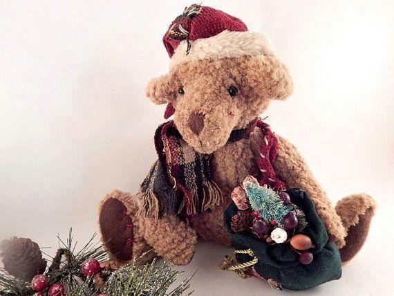 Santa Claus Teddy Bear Nubbly Brown Stuffed Animal Rustic Christmas  Decoration Vintage 1980 s Folk 27f757b8bb22