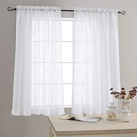 Amazon Com Sheer Curtains 54 Inch Length Home Kitchen White