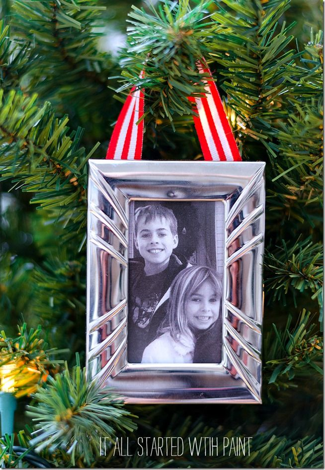 Picture Frame Ornament | Picture frame ornaments, Homemade christmas ...