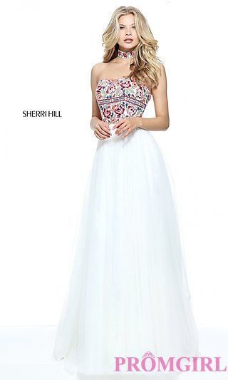 Strapless Sherri Hill Dress with Embroidery at PromGirl.com | prom ...