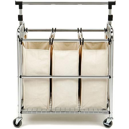 Seville Classics 3 Bag Laundry Sorter W Hang Bar She16165b With