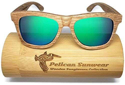 ac34b805a57 Wooden Polarized Sunglasses - Handmade Solid Real Dumu Wood Wayfarer Style  w Bamboo Case - 100% UV Protection - for Men and Women by Pelican Sunwear  ...