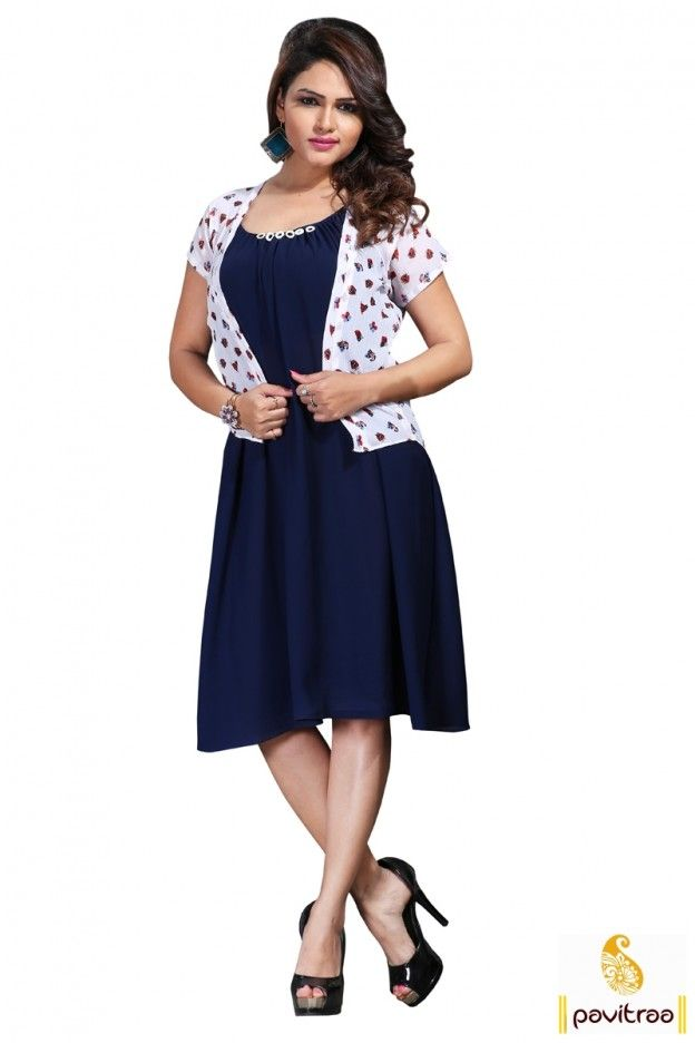 00c5c3606788 Best Sarees Online Shopping With Price. Western style fashionable blue  color college farewell party kurti dress for young girls with discount offer