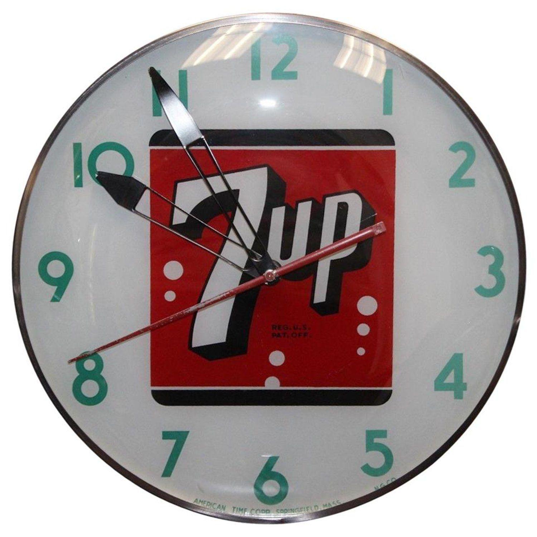1950s 1960s 7up Soda Advertising Light Up Wall Clock Advertising Clocks Wall Clock Vintage Clock