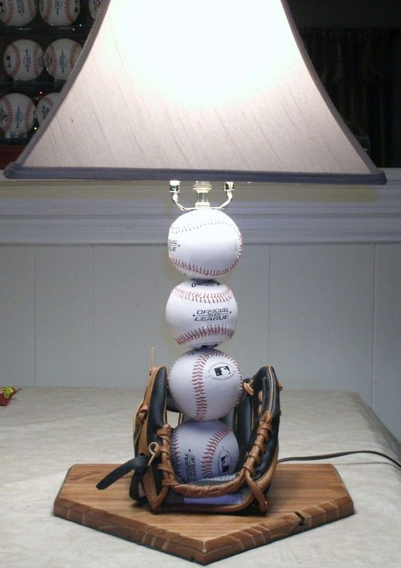 Baseball Table Lamp By Midwestclassiccrafts On Etsy I Could Make This Little Boys Room