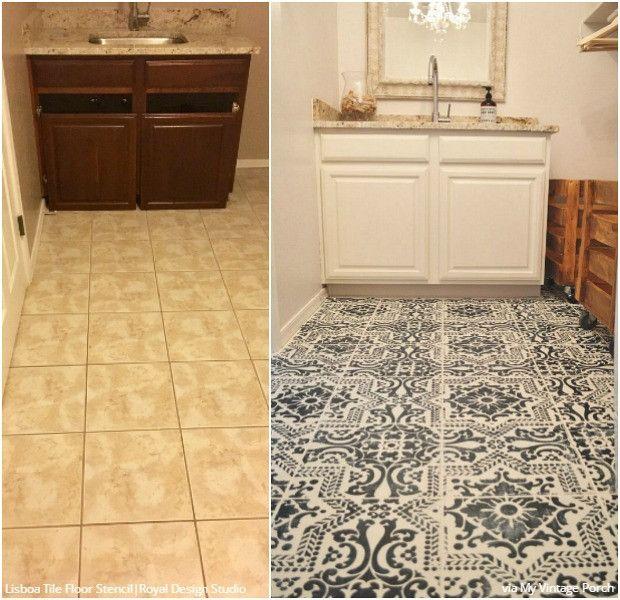 stenciled floor diy flooring