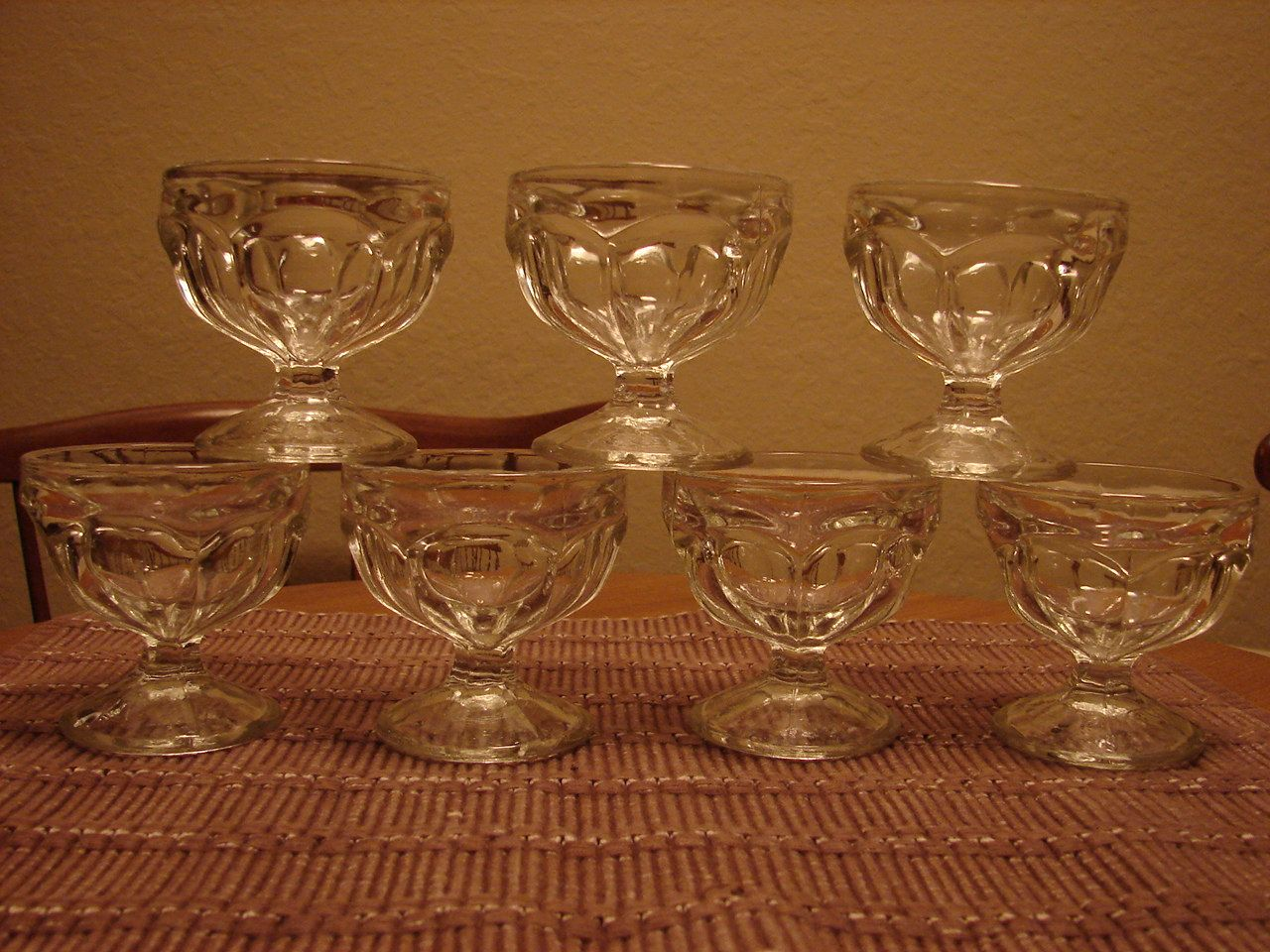 1960 S Seven Sundae Bowls Clear Pressed Glass Footed Pedestal Paneled Dessert Cups Ice Cream Parfai Sundae Bowls Vintage Pressed Glass Ice Cream Dishes