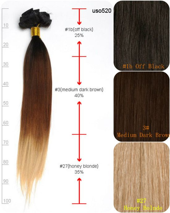 Inches ThreeTone Ombre Straight Extensions Hair For Party