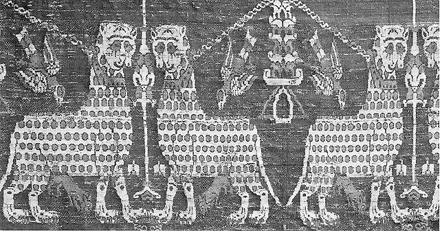 Eleventh Century Brocade Fragment with Cheetahs and Hawks Egypt collared and chained cheetahs and diving hawks