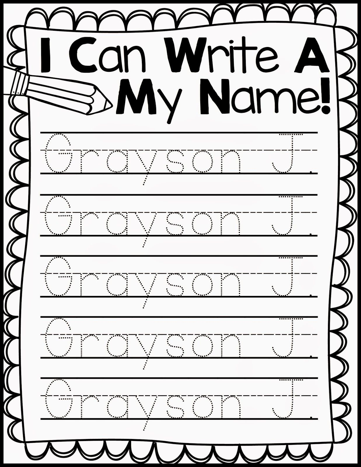 Freebie Friday Name Handwriting Practice