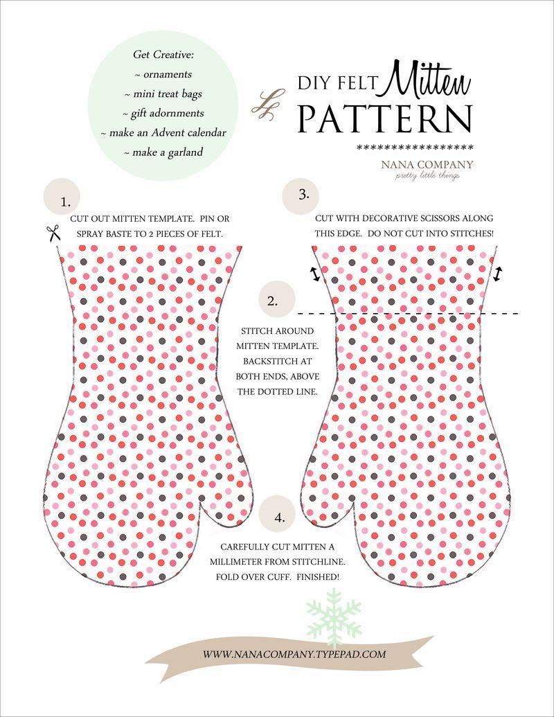 DIY manoplas de fieltro - DIY felt mitten pattern | Craft ...