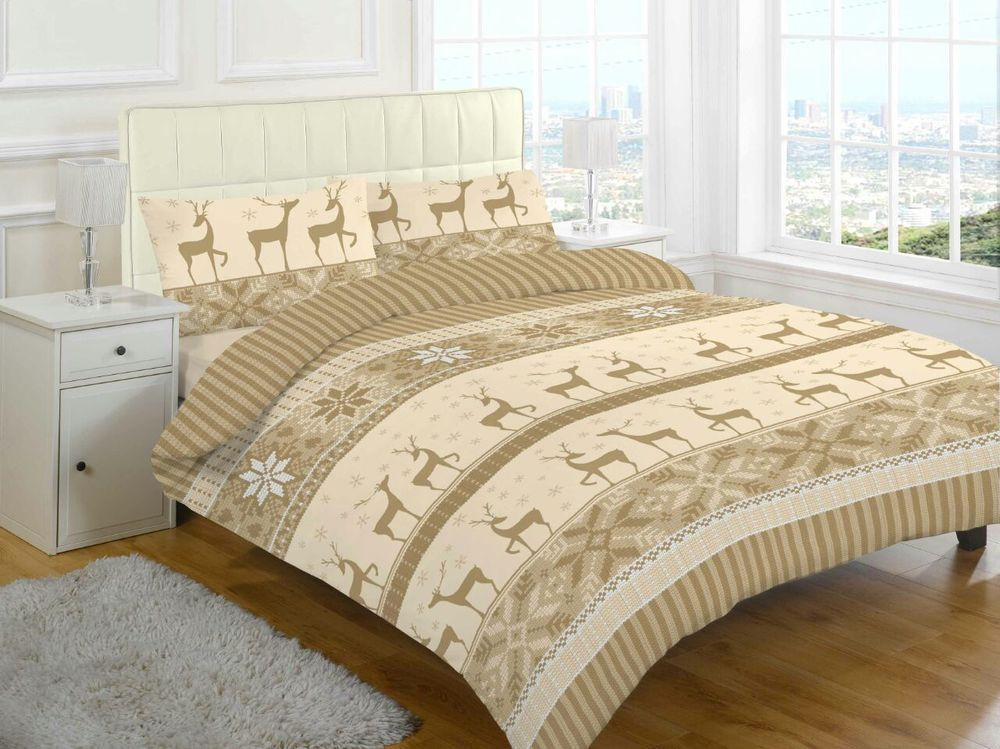Nora Natural 100 Cotton Flannelettee Double Duvet Cover
