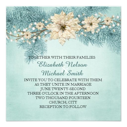 Blue Christmas Miracle Wedding Invite