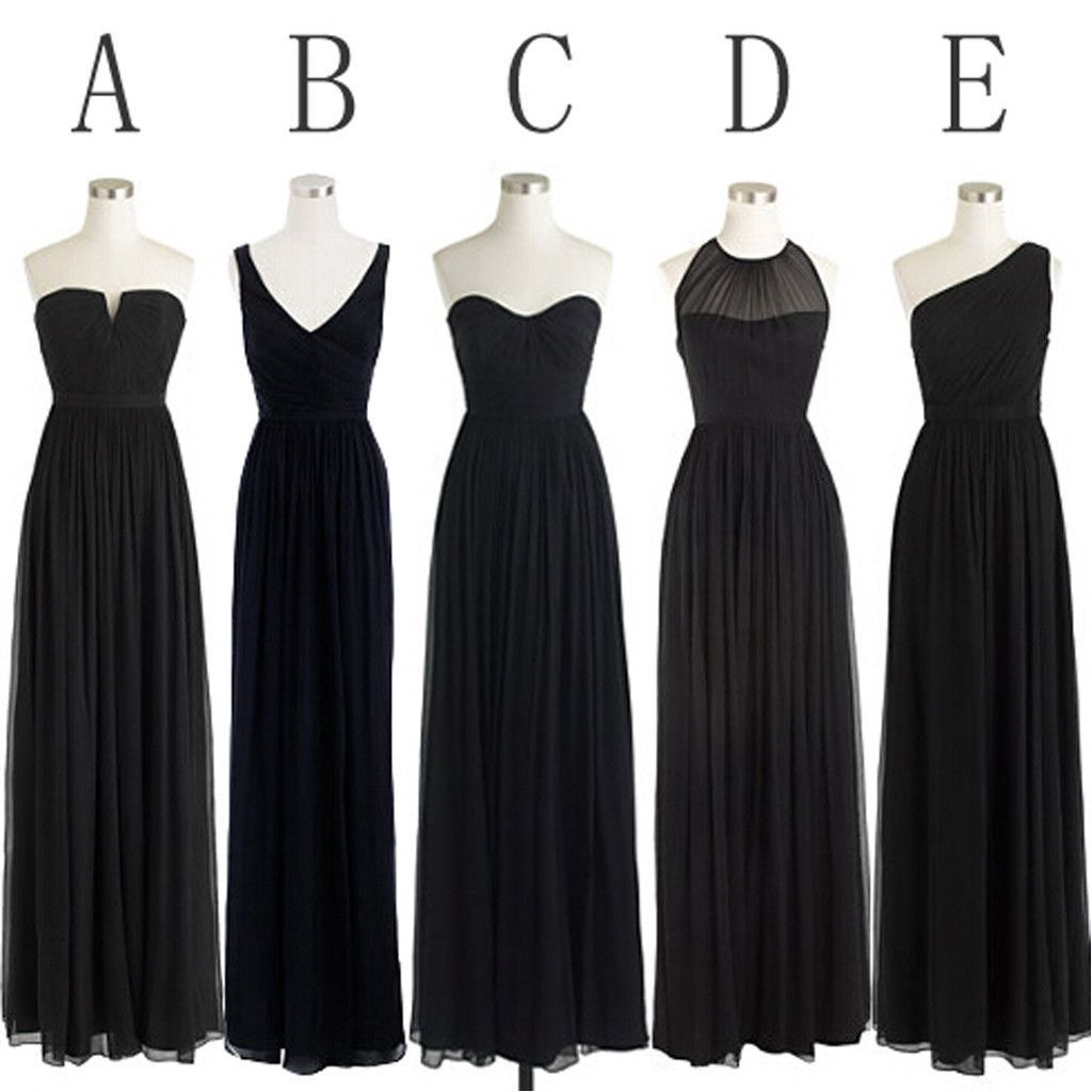 Black cheap simple mismatched styles chiffon floor length formal black cheap simple mismatched styles chiffon floor length formal long bridesmaid dresses wg187 ombrellifo Gallery