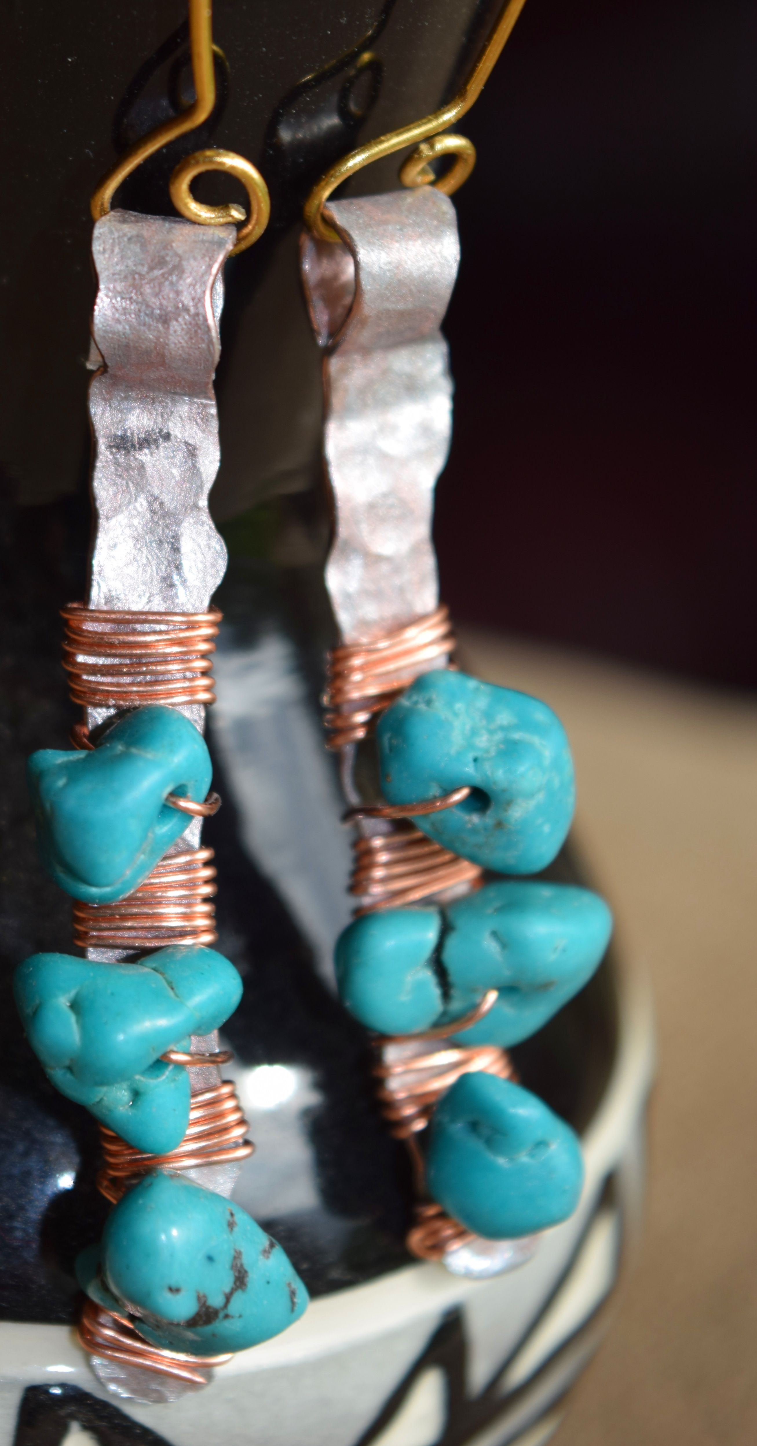 Hammered Copper over Aluminium with Turquoise stones