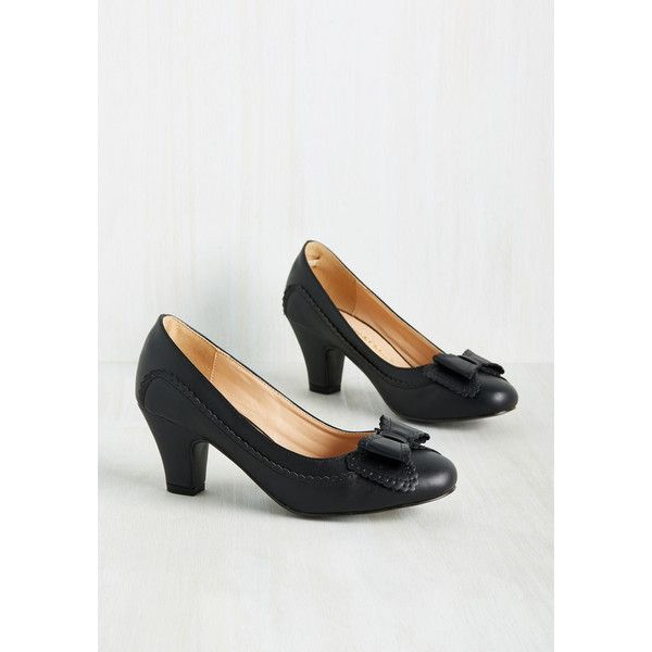 Vintage Inspired Fashionable Forte Heel ($45) via Polyvore featuring shoes, pumps, black shiny pumps, black bow shoes, black shoes, leather upper shoes and kohl shoes