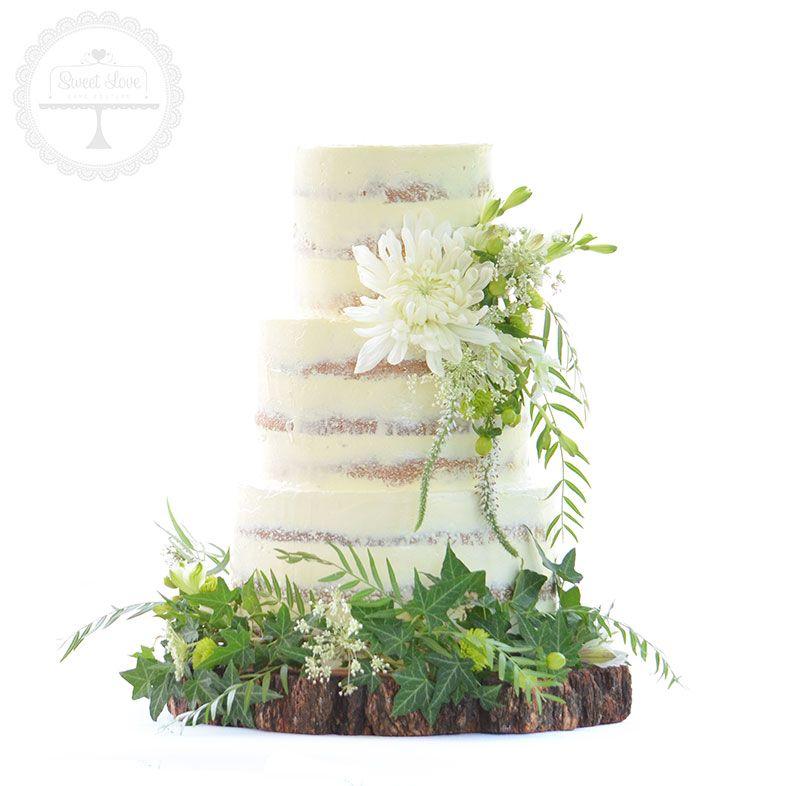 Semi Naked Nature Inspired Wedding Cake
