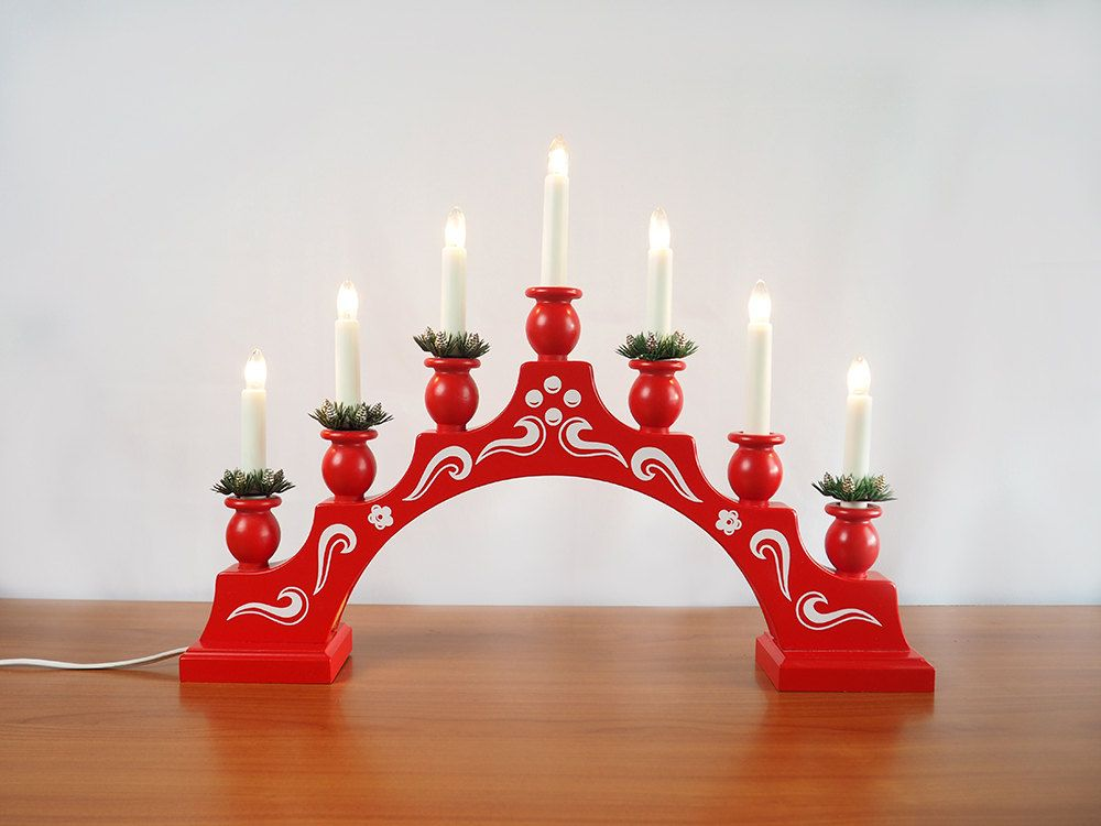Konstsmide Electric Candle Bridge Hand Painted Red And White Wooden Candle Arch Advent Ca Christmas Candle Decorations Swedish Christmas Decorations Candles