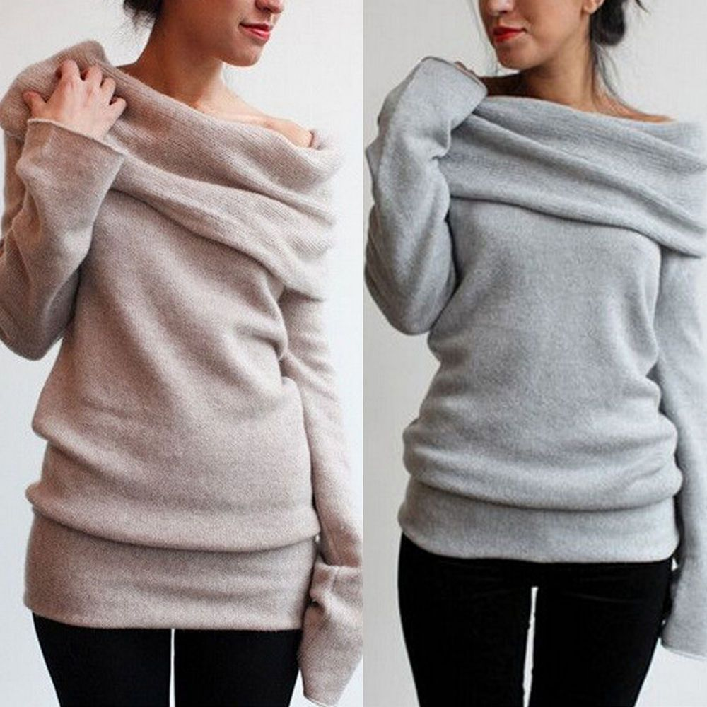 Details about SEXY OFF SHOULDER COWL NECK SWEATER KNITWEAR SMART ...