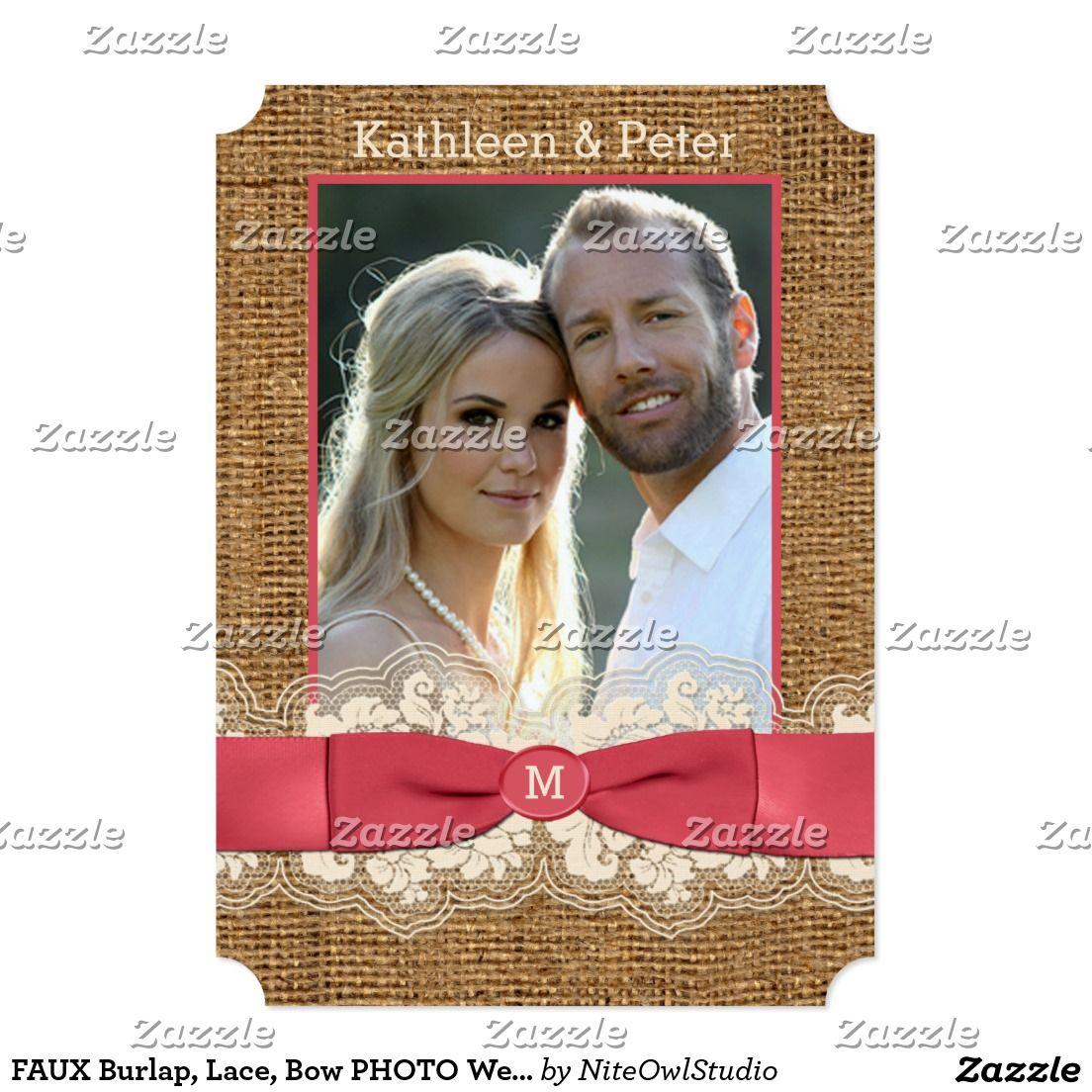 FAUX Burlap, Lace, Bow PHOTO Wedding Invite - Pink