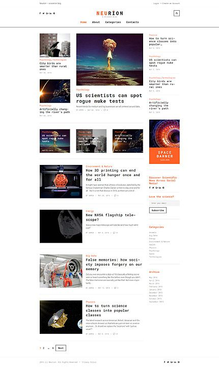 scientific blog website template themes business responsive