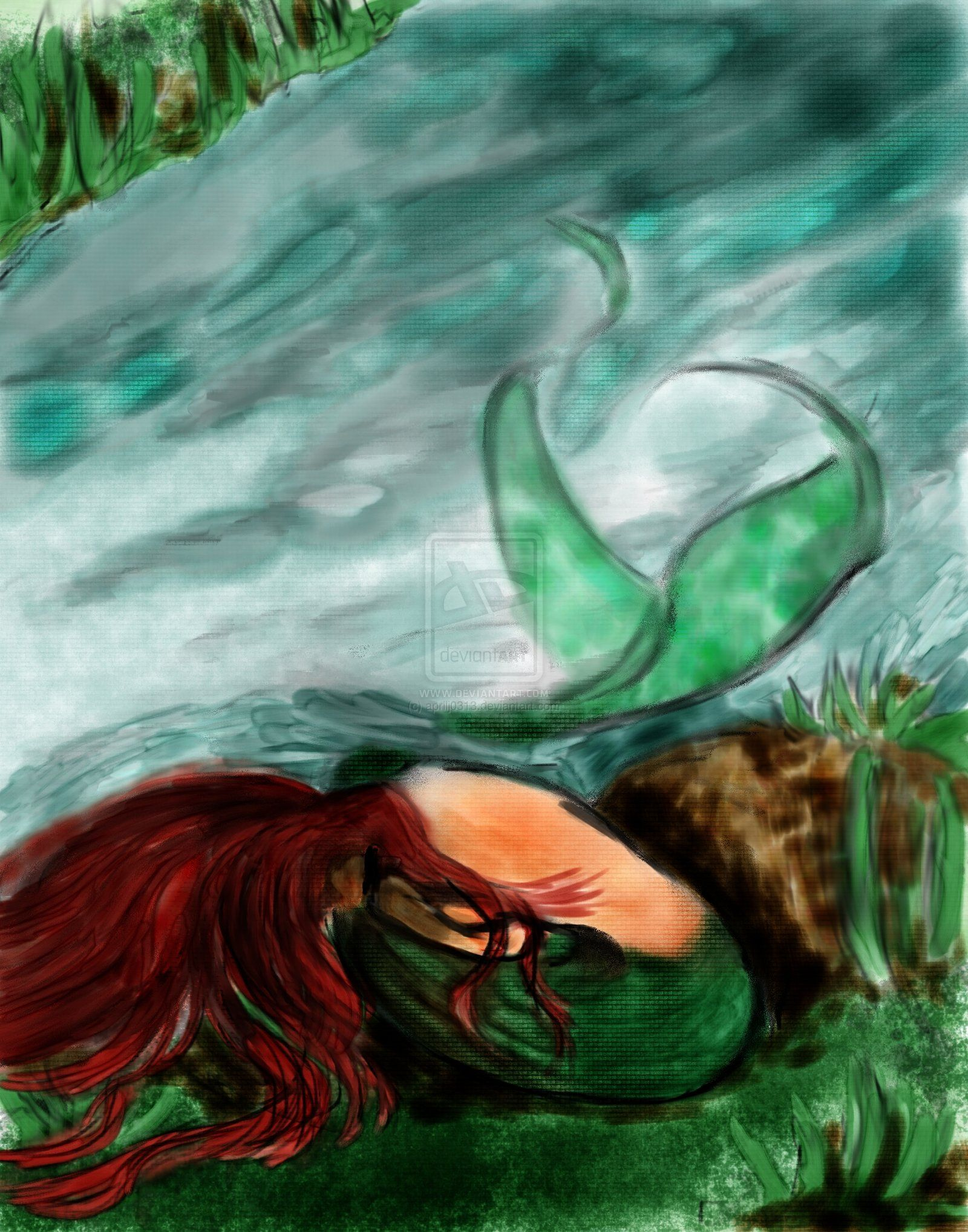 Mermaid Out of Water Digital Watercolor by  aprilj0313 on deviantART ... d26a4bef17c