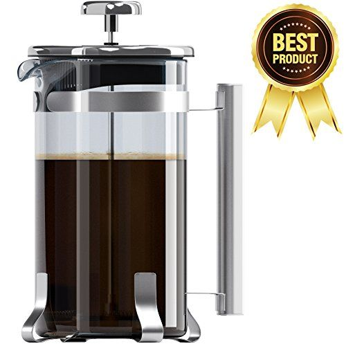 8 Cup French Press Coffee And Tea Maker Borosilicate Glass Carafe Stainless Steel Component Cafetiere Coffee Stainless Steel French Press French Press Coffee