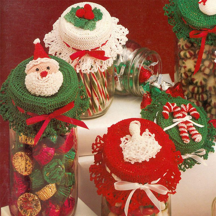 Christmas Jar Lid Covers Crochet Pattern Book Holly Bells Candy Canes Santa Ebay Crochet Xmas Christmas Crochet Patterns Christmas Crochet