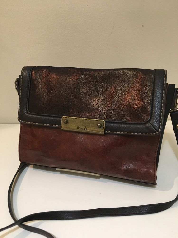 8415dbdbf2 The SAK Large Brown Teak Leather Crossbody Handbag Iris Multi Colorblock  EUC