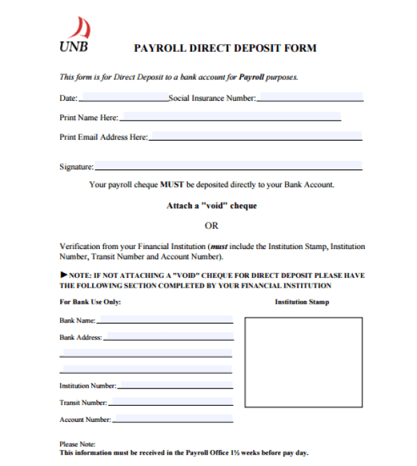 direct deposit form sample  direct deposit form template 14 | Special Templates ...