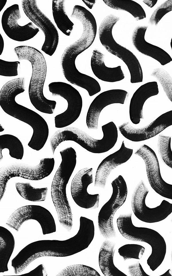 Papel pintado Abstracto Pinceladas de Pintura Negra