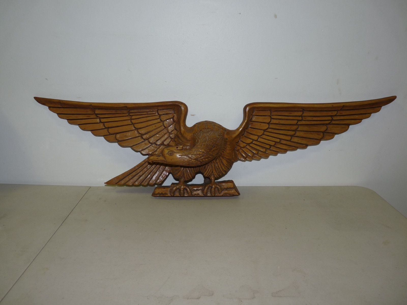 Huge old hand carved wood federal eagle folk art wooden eagle wall - Vintage Antique Hand Carved Wooden Eagle Folk Art Figurine Bellamy Style Ebay